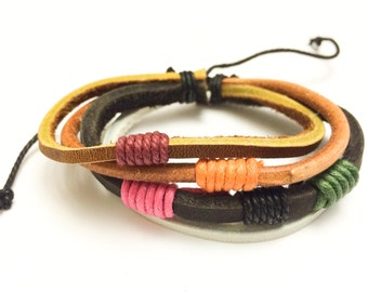 Colored hemp ropes with Brown and Black leather bracelet
