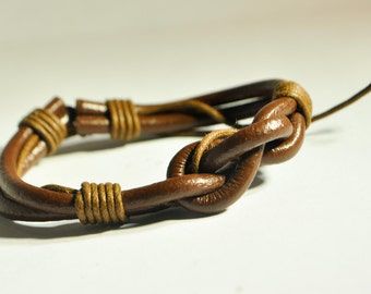 Brown Infinite Knot leather Bracelet
