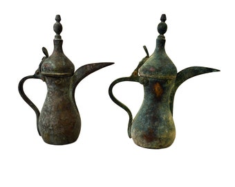 Two Antique Turkish Style Brass Pitchers With Lids Tea Pot Beautiful Aged Patina Set of Water Pitchers