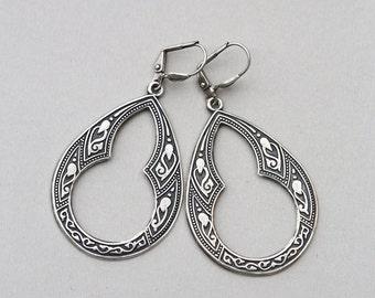 Gypsy Earrings,Silver Earrings,Earrings,Jewelry Gift, Silver Earrings, Silver Faceted Earring,Wedding,Bridal, Bridesmaid Gift