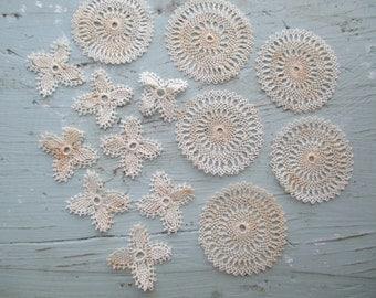 Vintage Tiny Knotted Lace Trim Applique Pieces K104