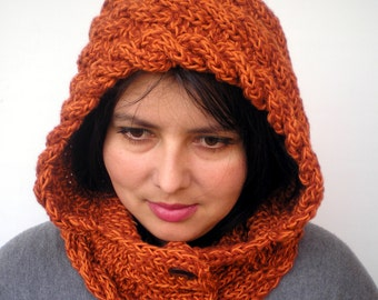 Lady Marion Hood Super Soft mixed Wool Hooded Cowl Hand Knit Cabled Hat Hood NEW