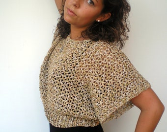Natural  Crop Top Trendy Lace    Hand Crocheted  Woman Short  Sweater NEW