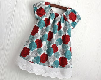 Red and teal rose floral peasant dress in sizes 2, 3, 4, 5, 6, 7, 8
