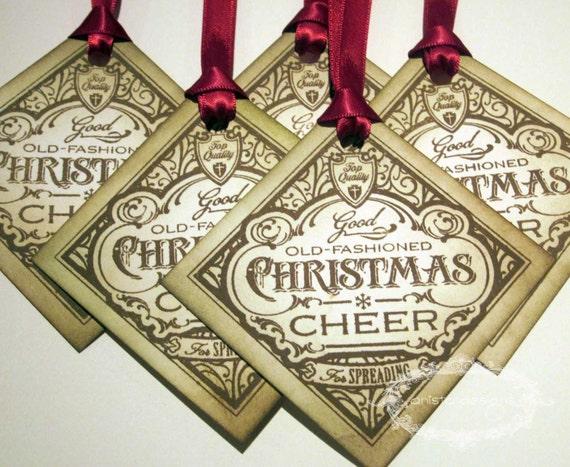 Christmas Tags - Christmas Cheer - Vintage Appearance - Set of 5