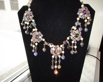 SALE  Magnifacent Crystal and Pearl Necklace