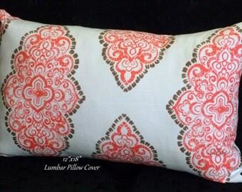 Lumbar Pillow, Decorative Pillow, Pillow Cover, Home Decor - One 12x18 Inch Lumbar Pillow - Taupe, White and Peach