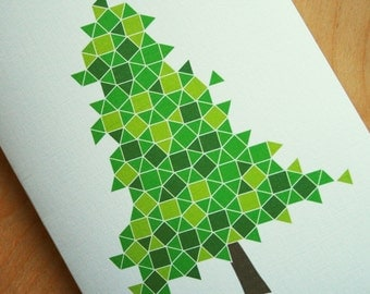 Evergreen Cards - Geometric Eco Friendly Blank Holiday Cards - Set of 4 Modern Tessellated Winter Cards - Christmas Cards