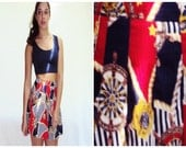 On Sale TENNIS SKIRT Nautical Baroque Scarf print High Waist red white blue AMERICANA  s, m