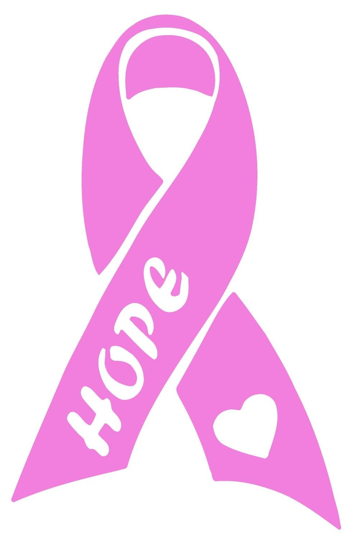 Breast Cancer Awareness Hope Ribbon Vinyl Decal T141