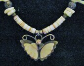 Vintage Mother of Pearl Necklace with Butterfly pendant and Birds