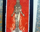 Isis Neith, Sacred Goddess Image, Archival reproduction of an original etching,  Blank Hand made Card