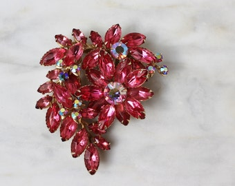 50s 60s Pink Rhinestone Floral Brooch Pin