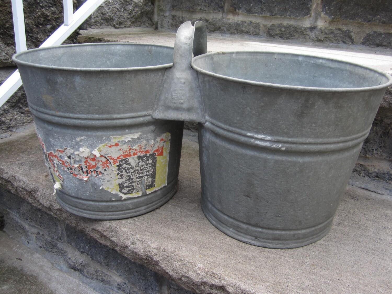 Vintage double galvanized metal bucket laundry bathroom for Old metal buckets
