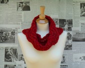 Red Wave Cowl - Knit, Reversible, and Seamless