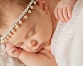 baby rhinestone and pearls Halo, newborn headband, newborn photography props