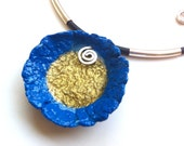 Eco chic blue paper necklace, Eco friendly jewelry, Gift for her, Designer jewelry