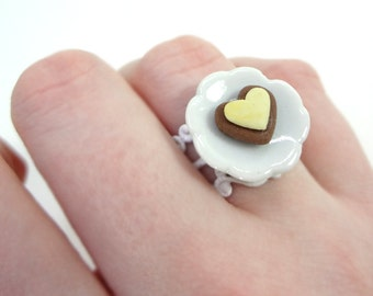 Heart Ring, Cookie Ring, Heart, Cookie, Food Jewelry, Food Ring, Polymer Clay, Kawaii, Cute, Miniature Food, Adjustable Ring, Sweet Lolita