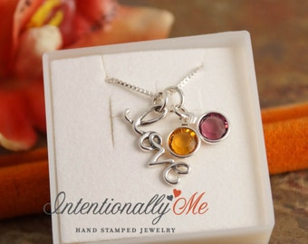 Valentines Day Necklace - Personalized Sterling Silver Jewelry - Just Love necklace with birthsones by Intentionally Me