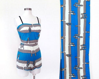 1960s Swim Suit and Towel SET / Amazing Midcentury Print
