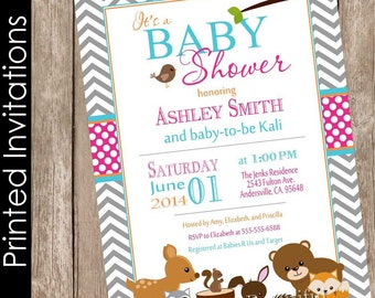 Woodland baby shower invitation forest friends baby shower invitation girl baby shower invitation pink and gray invitation (FREE ENVELOPES)