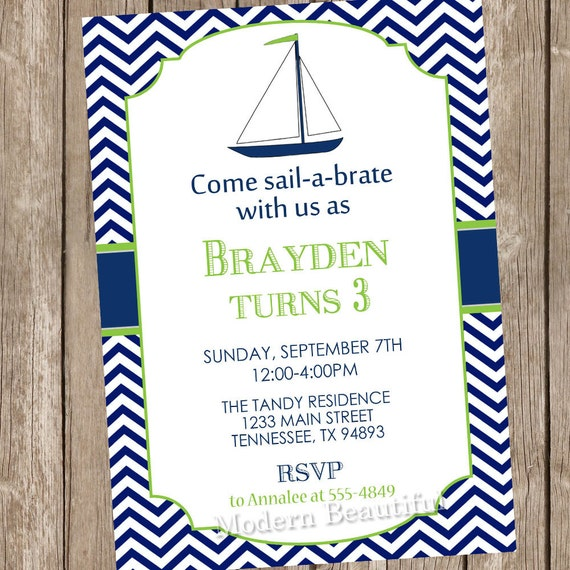 Sailboat Chevron Nautical Birthday Invitation Nautical Birthday