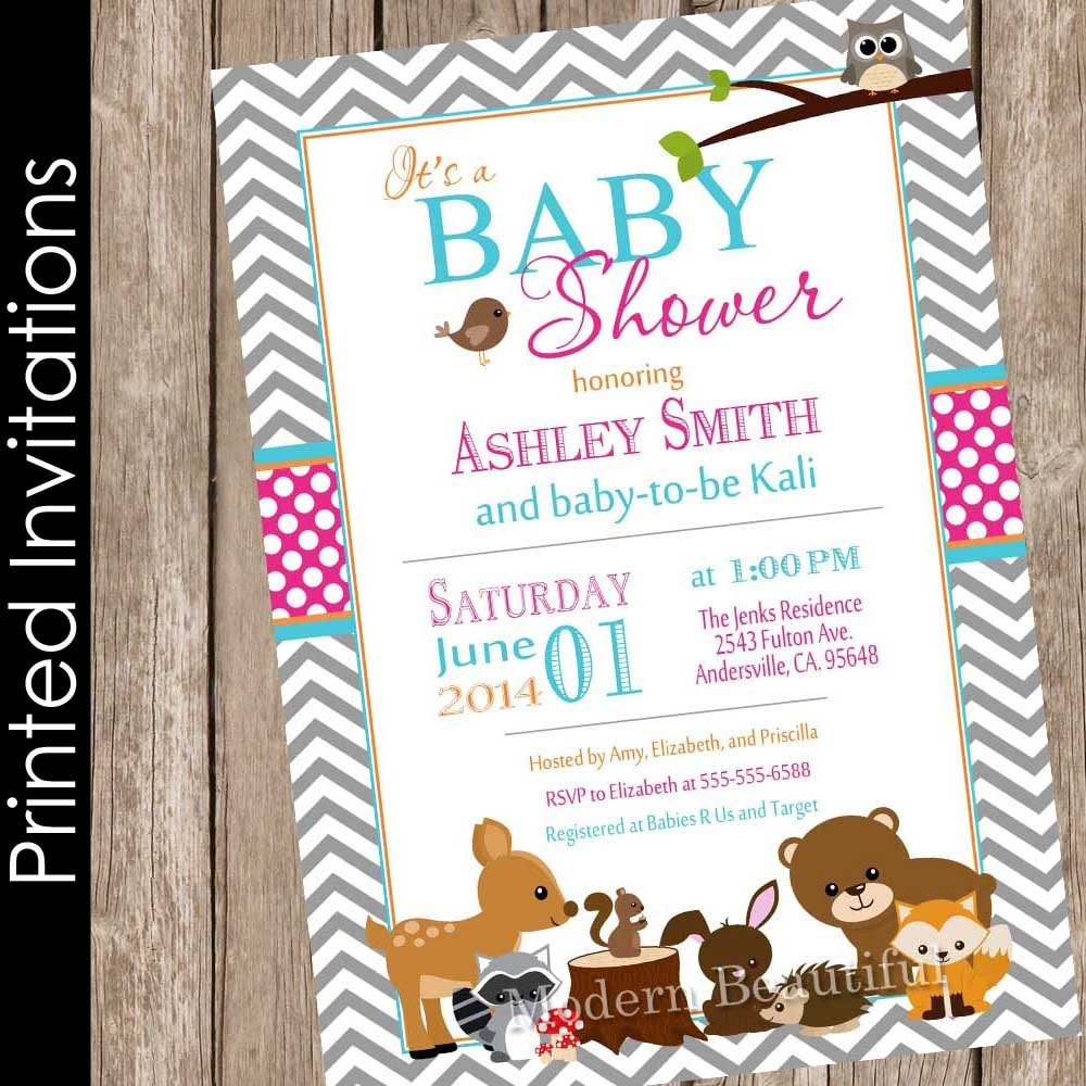 woodland baby shower invitation forest friends baby shower