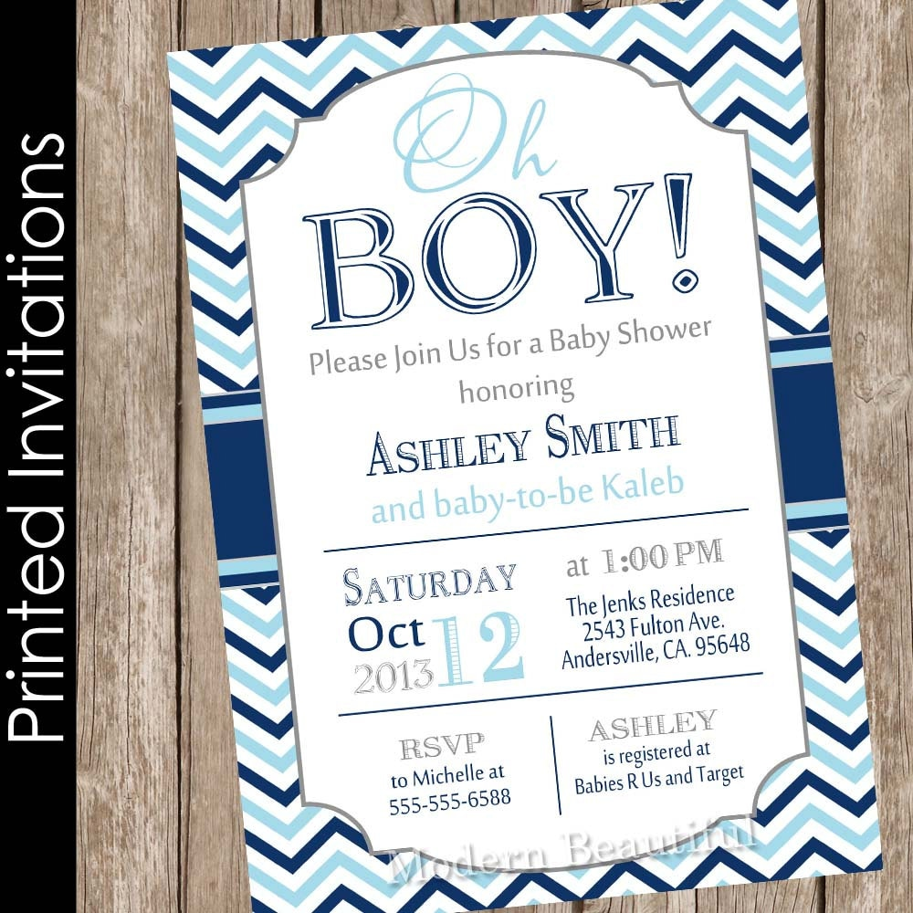 Printed Oh Boy Baby Shower Invitation Navy Baby Blue Gray