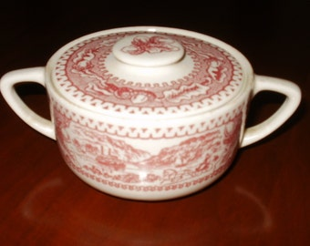 Vintage Sugar Bowl...Ironstone...1960's...Red and White
