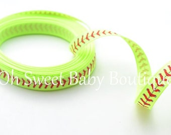 "3/8"" Softball Thread Grosgrain Ribbon Neon Yellow"
