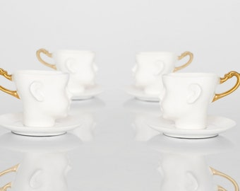 Porcelain coffee cups set of four, with saucers, ceramic mugs, white and gold, cups set,  tea mug, china cup,