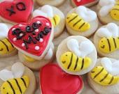 Bee My Valentine Cookie Nibbles - 3 dozen  Valentine Mini Cookies