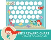 Kids Reward Chart - Sea Princess -  Chore Chart for Kids - Habit Tracker
