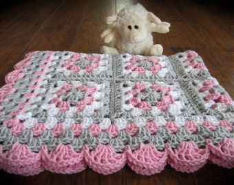 Pink Gray Baby Granny Square Blanket, Crochet Pink and Gray Blanket, Pink Gray Nursery, Crochet Baby Blanket, READY TO SHIP