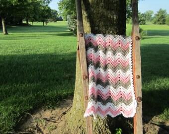 baby girl, chevron, ripple, baby, crochet blanket, afghan crochet, crocheted blanket, crocheted afghan, pink, grey &white