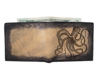 Billfold Leather Wallet - Octopus - Free Customization