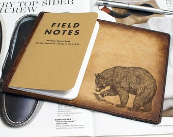 Field Notes Leather Cover - Bear - Customizable - Free Personalization
