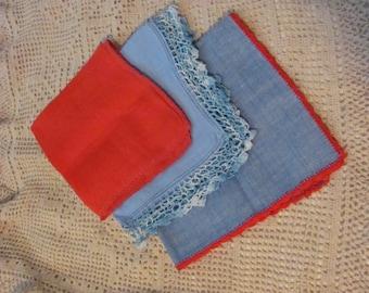 Hankies - Lot of 3 Assorted Crocheted  Vintage Antique Handkerchief