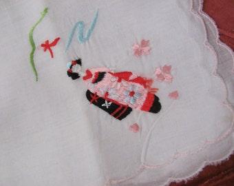 Solid White Embroidered Geisha Hankie Handkerchief - Unused