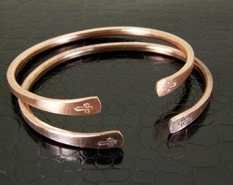 Hand Stamped Cross Copper Bracelet, Cross Cuff, Cross Bangle in Mens or Womens