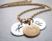 Personalized Necklace, Two Initial Gold Necklace, Heart Initial Disc Necklace, Gold Heart Monogram Necklace, Gold Initial Necklace