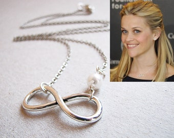 Infinity Necklace, Reese Witherspoon Inspired, Celebrity Inspired Choker, Silver Infinity Necklace, Anniversary Gift, Bridesmaids Necklace
