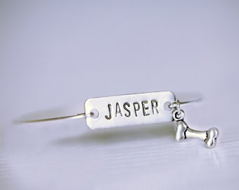 Dog Name Bracelet, Bone Name Tag Bangle, Dog Name Plate Silver Bracelet, Silver Initial Rectangle Tag, Name Custom Dog Bracelet,Hand Stamped