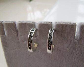 vintage marcasite hoop Sterling Silver Earrings