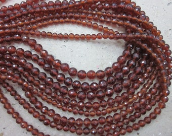 Hessonite Round faceted  beads, 7-8 mm