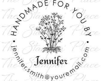 Personalized Custom Stamp - Handmade for You by Flowers - PK313