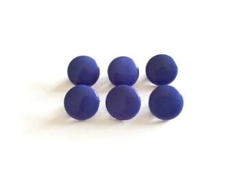 6 Blue Buttons, Royal Blue Buttons, Shank Buttons, Vintage, Plastic