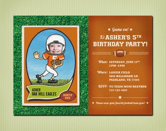 digital football birthday invite