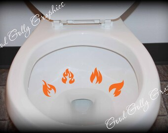 Potty training sticker, toilet decal, Taking Aim toilet targets: FOUR piece collection of FLAMES