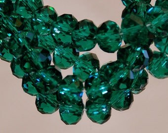 25 pcs 6x4mm Transparent Emerald Green Rondelle Glass Beads TEG